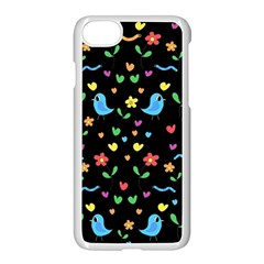 Cute Birds And Flowers Pattern   Black Apple Iphone 7 Seamless Case (white)