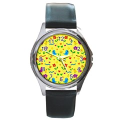 Yellow Cute Birds And Flowers Pattern Round Metal Watch by Valentinaart