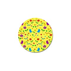 Yellow Cute Birds And Flowers Pattern Golf Ball Marker by Valentinaart