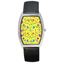 Yellow Cute Birds And Flowers Pattern Barrel Style Metal Watch by Valentinaart