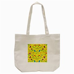 Yellow Cute Birds And Flowers Pattern Tote Bag (cream) by Valentinaart