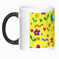 Yellow Cute Birds And Flowers Pattern Morph Mugs by Valentinaart