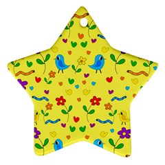 Yellow Cute Birds And Flowers Pattern Star Ornament (two Sides)  by Valentinaart