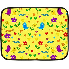 Yellow Cute Birds And Flowers Pattern Double Sided Fleece Blanket (mini)  by Valentinaart
