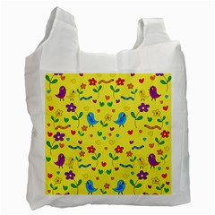Yellow Cute Birds And Flowers Pattern Recycle Bag (two Side)  by Valentinaart