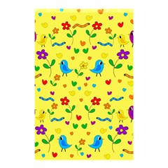 Yellow Cute Birds And Flowers Pattern Shower Curtain 48  X 72  (small)  by Valentinaart