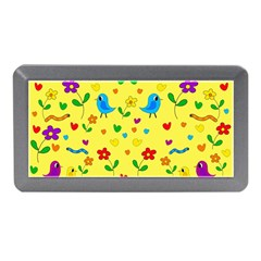 Yellow Cute Birds And Flowers Pattern Memory Card Reader (mini) by Valentinaart
