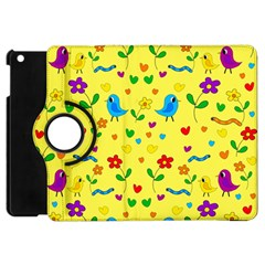 Yellow Cute Birds And Flowers Pattern Apple Ipad Mini Flip 360 Case by Valentinaart