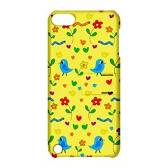 Yellow Cute Birds And Flowers Pattern Apple Ipod Touch 5 Hardshell Case With Stand by Valentinaart