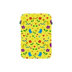 Yellow Cute Birds And Flowers Pattern Apple Ipad Mini Protective Soft Cases by Valentinaart