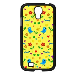 Yellow Cute Birds And Flowers Pattern Samsung Galaxy S4 I9500/ I9505 Case (black) by Valentinaart