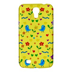 Yellow Cute Birds And Flowers Pattern Samsung Galaxy Mega 6 3  I9200 Hardshell Case by Valentinaart