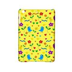 Yellow Cute Birds And Flowers Pattern Ipad Mini 2 Hardshell Cases by Valentinaart