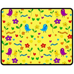 Yellow Cute Birds And Flowers Pattern Double Sided Fleece Blanket (medium)  by Valentinaart