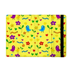 Yellow Cute Birds And Flowers Pattern Ipad Mini 2 Flip Cases by Valentinaart