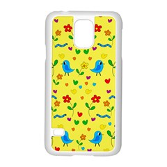 Yellow Cute Birds And Flowers Pattern Samsung Galaxy S5 Case (white) by Valentinaart