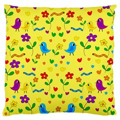 Yellow Cute Birds And Flowers Pattern Standard Flano Cushion Case (two Sides) by Valentinaart