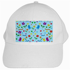 Blue Cute Birds And Flowers  White Cap by Valentinaart