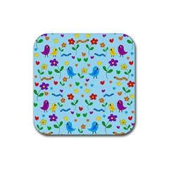 Blue Cute Birds And Flowers  Rubber Coaster (square)  by Valentinaart