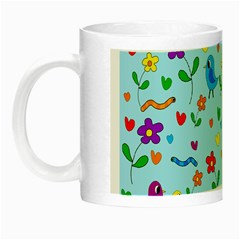 Blue Cute Birds And Flowers  Night Luminous Mugs by Valentinaart