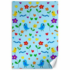 Blue Cute Birds And Flowers  Canvas 12  X 18   by Valentinaart