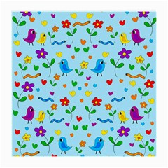 Blue Cute Birds And Flowers  Medium Glasses Cloth (2 Side) by Valentinaart