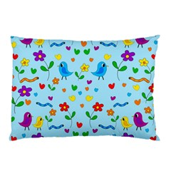 Blue Cute Birds And Flowers  Pillow Case