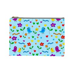 Blue Cute Birds And Flowers  Cosmetic Bag (large)  by Valentinaart
