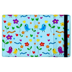 Blue Cute Birds And Flowers  Apple Ipad 3/4 Flip Case by Valentinaart