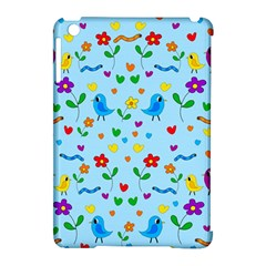 Blue Cute Birds And Flowers  Apple Ipad Mini Hardshell Case (compatible With Smart Cover) by Valentinaart