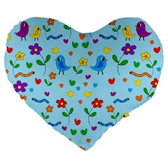 Blue Cute Birds And Flowers  Large 19  Premium Heart Shape Cushions by Valentinaart