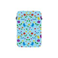 Blue Cute Birds And Flowers  Apple Ipad Mini Protective Soft Cases by Valentinaart