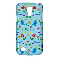 Blue Cute Birds And Flowers  Galaxy S4 Mini by Valentinaart