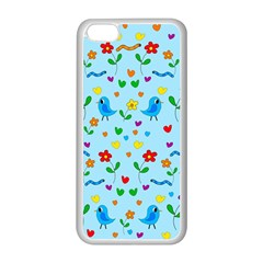 Blue Cute Birds And Flowers  Apple Iphone 5c Seamless Case (white) by Valentinaart