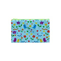 Blue Cute Birds And Flowers  Cosmetic Bag (xs) by Valentinaart