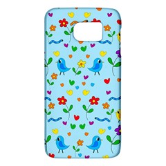 Blue Cute Birds And Flowers  Galaxy S6 by Valentinaart