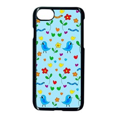 Blue Cute Birds And Flowers  Apple Iphone 7 Seamless Case (black)
