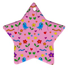 Pink Cute Birds And Flowers Pattern Ornament (star)  by Valentinaart