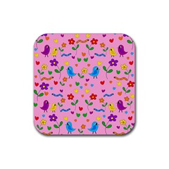 Pink Cute Birds And Flowers Pattern Rubber Square Coaster (4 Pack)  by Valentinaart