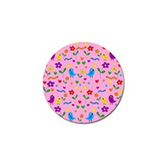 Pink Cute Birds And Flowers Pattern Golf Ball Marker (10 Pack) by Valentinaart