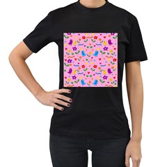 Pink Cute Birds And Flowers Pattern Women s T Shirt (black) (two Sided) by Valentinaart