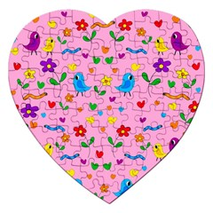 Pink Cute Birds And Flowers Pattern Jigsaw Puzzle (heart) by Valentinaart
