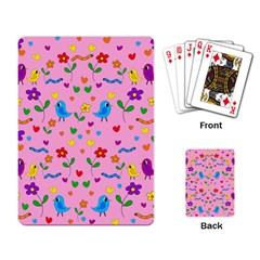 Pink Cute Birds And Flowers Pattern Playing Card by Valentinaart