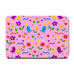 Pink Cute Birds And Flowers Pattern Small Doormat  by Valentinaart