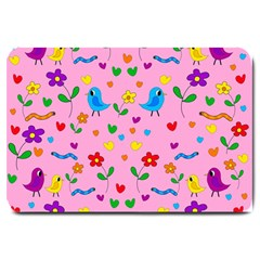 Pink Cute Birds And Flowers Pattern Large Doormat  by Valentinaart
