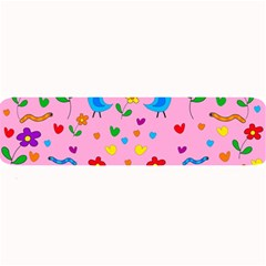 Pink Cute Birds And Flowers Pattern Large Bar Mats