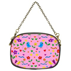 Pink Cute Birds And Flowers Pattern Chain Purses (one Side)  by Valentinaart