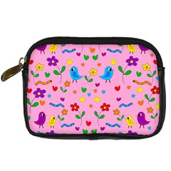 Pink Cute Birds And Flowers Pattern Digital Camera Cases