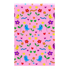 Pink Cute Birds And Flowers Pattern Shower Curtain 48  X 72  (small)
