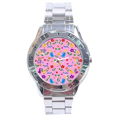 Pink Cute Birds And Flowers Pattern Stainless Steel Analogue Watch by Valentinaart